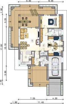 DOM.PL™ - Projekt domu Mój dom Przemuś CE - DOM BR1-26 - gotowy koszt budowy Floor Plans, Floor Plan Drawing, House Floor Plans