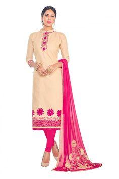 Office Wear Beige Cotton Salwar Suit  - GEORGIA1009