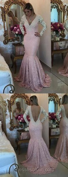 Open Back Prom Dresses, Mermaid Prom Dress, Pink Evening Gowns, Long Sleeve Party Dresses, V Neck Formal Dresses