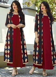 Magenta Cotton Readymade Kurti With Jacket 160205 New Kurti Designs, Kurta Designs Women, Kurti Designs Party Wear, Frock Fashion, Fashion Dresses, Indian Designer Outfits, Designer Dresses, Indian Dresses, Indian Outfits