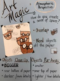 """We have a new poster in the Drawing Center! I designed this """"Art Magic /Atmospheric Perspective"""" poster to help children to create a sen..."""