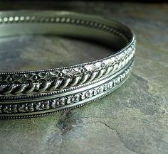 Bangle Bracelet Set sterling silver pattern by LavenderCottage on Etsy.