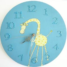 Very adorable blue round wooden Children's wall clock - Yellow Giraffe. By Shellyka; available at ToSouk