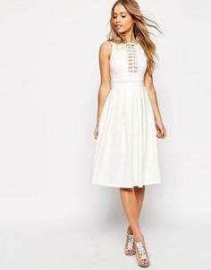 ASOS | ASOS Lace Trim Debutante Midi Dress at ASOS