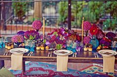 Exotic tablescape, coordinated by Kate Miller, Natural hemp napkins by Mimi & Co. Photo by Sarah Maren.