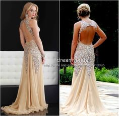 2014 New Fashion Sparkling Vestidos De Fiesta champagne Tulle Sexy long open back Mermaid Prom Dresses Evening gowns Sequins $229.99