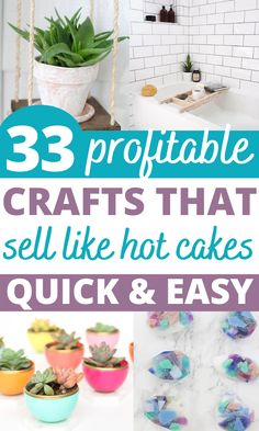 Looking for hot craft ideas to sell on Etsy or at craft fairs? Check out these 32 EASY crafts to make and sell from home to make EXTRA CASH quickly! Check out these DIY crafts to sell NOW! #craftstosell Craft Ideas To Sell Handmade, Diy Projects To Make And Sell, Money Making Crafts, Crafts To Make And Sell, Easy Diy Crafts, Diy Craft Projects, Handmade Crafts, Crafts For Kids, Mosaic Crafts