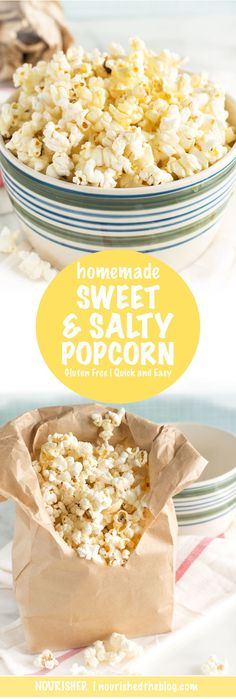 Freshly popped, microwave-style popcorn drizzled with butter and honey, vanilla and sea salt is the ultimate in sweet and savoury snacks. This gluten free and vegetarian-friendly Sweet and Salty Popcorn recipe is not only delicious it's super easy to make too!