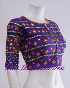 Readymade saree blouse online USA Premium range of blouses, croptops, handwork blouses which can be mixed and matched with variety of Sarees and lehengas . Choli Blouse Design, Pattu Saree Blouse Designs, Fancy Blouse Designs, Blouse Neck Designs, Kurta Designs, Blouse Patterns, Mehndi Designs, Mirror Work Blouse Design, Kutch Work Designs
