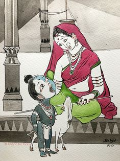 Blessed Yashoda and baby Krishna Kerala Mural Painting, Krishna Painting, Madhubani Painting, Indian Art Paintings, Krishna Art, Baby Krishna, Ravivarma Paintings, Om Art, Seed Art