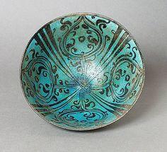 Bowl - Iran, Kashan Bowl, early 13th century Ceramic; Vessel, Fritware, underglaze-painted