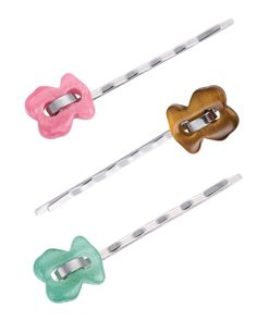 TOUS Cruise hairgrip: stainless steel with rhodonite, tiger eye & aventurine bear.