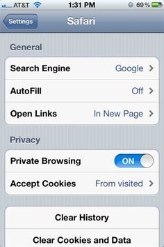 "Private Browsing:  ""Want to make sure that your information isn't getting sent out to the Internet via Safari? There's a quick way to fix that: Go to Settings > Safari and then click the tab for Private Browsing. Now all of your activity on the web is top secret, so proceed at your own discretion."""
