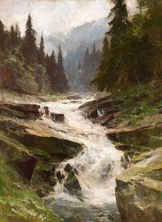 "Edward Harrison Compton (1881-1960). Die junge Elbe im Riesengebirge, ca. 1940. Oil on canvas, 37.7"" x 27.7"""