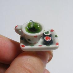 Sushi and Green Tea Miniature Food Ring - Miniature Food Jewelry,Handmade Jewelry Ring