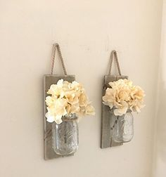 Mason Jar Wall Sconce (SET OF TWO) Hand Crafted Rustic Wall Decor, Mason Jar Sconces, Flower Vases