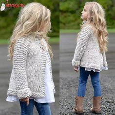 MUQGEW Girl's plain-coloured knit sweater cardigan Toddler Kids Baby Girls Outfit Clothes Button Knitted Sweater Cardigan Coat Toddler Cardigan, Knit Cardigan, Baby Cardigan, Baby Pullover, Girl Sleeves, Kids Coats, Baby Sweaters, Knit Sweaters, Sweater Coats