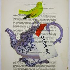 Drink Me Teapot - ORIGINAL ARTWORK Hand Painted Mixed Media on 1919 famous Parisien Magazine 'La Petit Illustration' by Coco De Paris