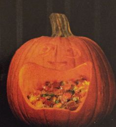 Fill a pumpkin with candy to leave on the porch