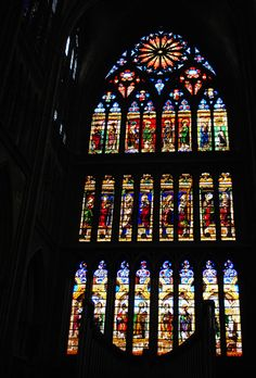 Stained glass window of Cathedral Saint Etienne, Metz, France. It has the largest expanse of stained glass windows in the world Metz France, Saint Etienne, Weekend Breaks, Stained Glass Windows, Empire State Building, Cathedral, This Or That Questions, City, World