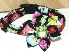 Colorful Owl Collar & Flower Set With Black Background in Buckled or Martingale Style/ Leash Upgrade/Metal Buckle Upgrade by KVSPetAccessories on Etsy