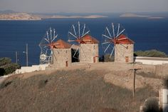 Windmills of the Monastery of St John the Theologian, Chora, Patmos, Greece - Photo by S. Vacation Trips, Dream Vacations, Places To Travel, Places To Go, Le Moulin, Greek Islands, Touring, Greece, House Styles