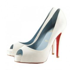 Christian Louboutin Wedding Shoes Very Prive 120mm Platform Pumps White