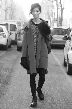 Fei Fei Sun during Milan Fall/Winter Fashion Week 2014.