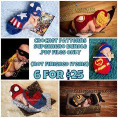 Superhero Pattern Bundle 6 patterns pdf. digital by calleighsclips, $25.00