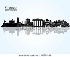 Greece detailed skyline. Vector illustration