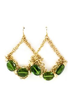 Sabine Chandelier Earrings in Bottle Green Crystal