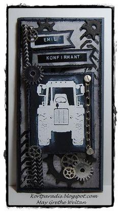 Scrappe NorthStarStamps NorthStarDesign Kort Card Konfirmasjonkort Korthobby Metall Charms Gear Gears Tannhjul Konfirmasjon Traktor Gutt Tannhjul Kort: