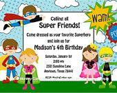 Superhero Invitations with FREE Return Address Labels. $1.00, via Etsy.