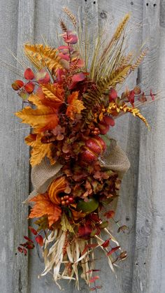 Fall Wreath Autumn Swag Thanksgiving by NewEnglandWreath on Etsy