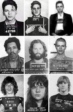 Mug shots of Frank Sinatra Elvis Presley Johnny Cash Jimi Hendrix Jim Morrison David Bowie Mick Jagger Janis Joplin and Kurt Cobain. Janis Joplin, David Bowie Mick Jagger, Kurt Cobain, Donald Cobain, Elvis Presley, Franck Sinatra, Jimi Hendricks, Johnny Cash, Music Icon