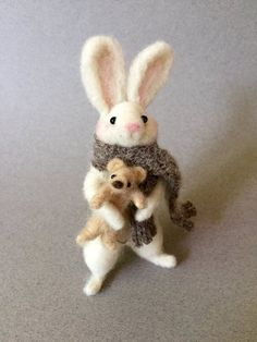 Needle felted wool bunny rabbit with teddy bear, handmade needle felted animals, woodland forest animal doll, daughter gift - The top trends to try in 2019 Wool Needle Felting, Needle Felted Animals, Felted Wool, Felt Bunny, Bunny Rabbit, Rabbit Art, Easter Bunny, Felt Mouse, Forest Animals