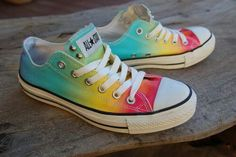 Rainbow coloured converse shoes