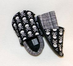 Pirates, skulls and plaid, baby shoe, baby slipper,  punk rocker, biker, boys, baby booties, black and white, skully, crossbones on Etsy, $19.50