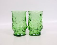 Vintage Avocado Green Juice Glasses Glass by LeVintageGalleria