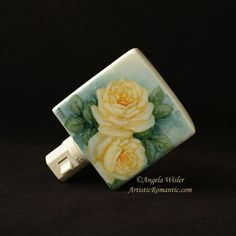 Yellow Country Cottage Roses Hand Painted Porcelain Nightlight