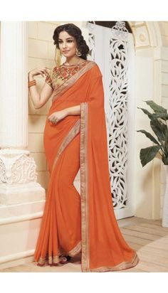 45400d1c5ce0c2 Orange Chiffon Saree With Art Silk Blouse - DMV10351 Indian Wedding  Outfits, Bridal Outfits,