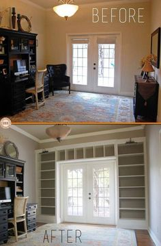 Ikea Hack- Cabinets Into Constructed-In Bookcases #interiordesign #interior #design #women #interiordesignideas #homedesign #interiordesigners