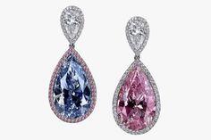 GLAMBARBIE Серьги Jacob & Co. С голубым и розовым грушевидными бриллиантами