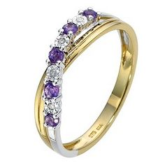 9ct Yellow Gold Diamond & Amethyst Ring