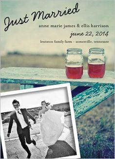 2014 favorite photo wedding announcement,  celebration details on  announcement.