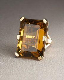 Gorgeous emerald cut amber quartz set on bronze metal. The clarity is wonderful.