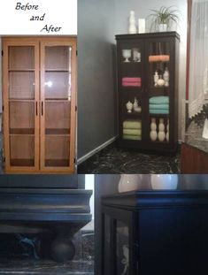 I took a cheap fake wood cabinet that was used in our basement office area of our last home, added beadboard panels to the sides, trim around the top and bottom and used wooden curtain finials as feet. Painted it all black to use for storage in the master bathroom of our new home. ~BC