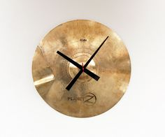 Boy's Room... Use chopsticks modelled after Drum Sticks??? Recycled Drum Cymbal Clock by pixelthis on Etsy, $69.00