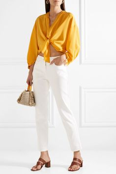 TOME | Cropped knotted silk crepe de chine top | NET-A-PORTER.COM