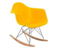 Cadeira de Balanço Firenzze Wood - Amarela